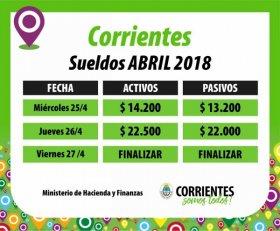 El miércoles empieza el pago de abril a la Administración Pública Provincial