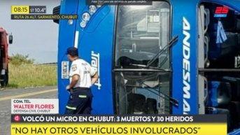 Volcó un micro en Chubut: tres muertos y 30 heridos