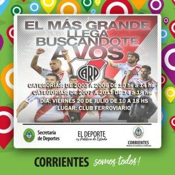 River Plate detectará talentos en Corrientes