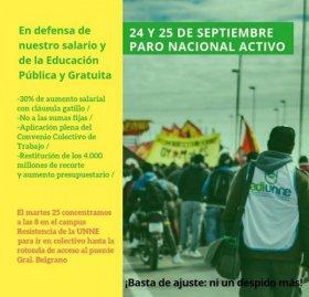 Adiunne se suma al paro nacional activo el 24 y 25 de septiembre