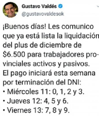 Corrientes: Valdés anunció cuándo comenzará el pago del plus de $6500