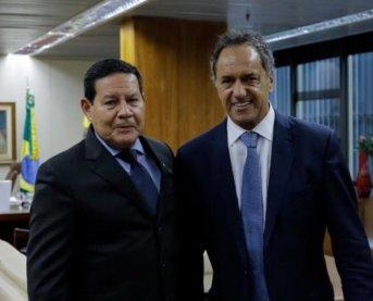 Scioli activa en Brasil agenda comercial junto al vice de Bolsonaro