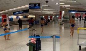 Estupor en el aeropuerto de Miami: una mujer se desnud� y se subi� al techo de un patrullero