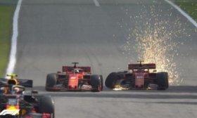 F�rmula 1: el ins�lito choque entre las dos Ferrari