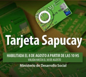 Desde este sábado se encuentran habilitadas las Tarjetas Sapucay