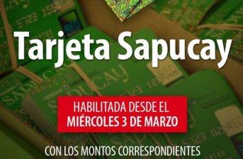 Desde el miércoles 3 se habilitan las tarjetas Sapucay